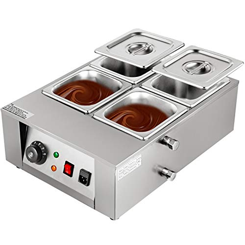 Happybuy 1000W Electric Chocolate Melting Pot Machine, 4 Tanks Commercial Electric Chocolate Heater,17.6LBS Capacity Thermal Insulation Heating Machine,for Chocolate Cheese Soup,32-176℉