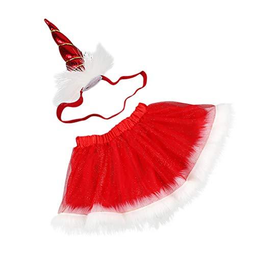 SOIMISS 1 Juego de Falda Tutú de Malla para Niñas Pequeñas Falda de Gasa Navideña con Novedad Diadema de Cuerno Tutú de Navidad Traje de Vestir para Suministros Infantiles Accesorios para