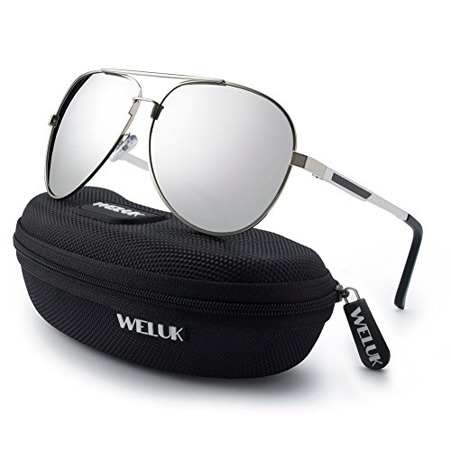 WELUK Men's Military Style Suglasses Polarized 64mm Al-Mg Frame for Fishing Driving(Silver/64mm)