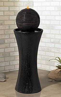 """John Timberland Dark Sphere 35 1/2"""" High Modern Pillar Bubbler Fountain"""