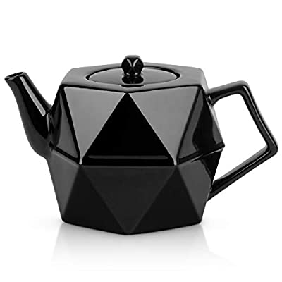 Toptier Tea Pot with Stainless Steel Infuser for Loose Tea, Porcelain Teapot with Strainer, Diamond Design Ceramic Teapots for 34 Ounce (1000 ml), Black