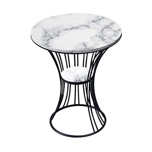 WGFGXQ Wrought Iron Side Table/End Table, Natural Marble Table Top, Metal Bracket, The Best Companion for The Living Room Sofa, Round, Multi-Color Optional