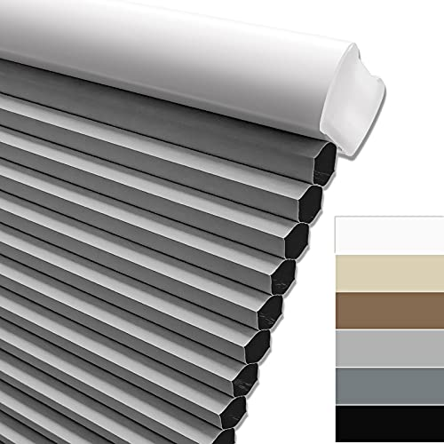 Keego Blackout Cordless Window Shades Blinds for Windows-Custom Cut to Size Window Blinds & Shades for Home Kitchen Bedroom Office (Grey 100% Blackout, Any Size)