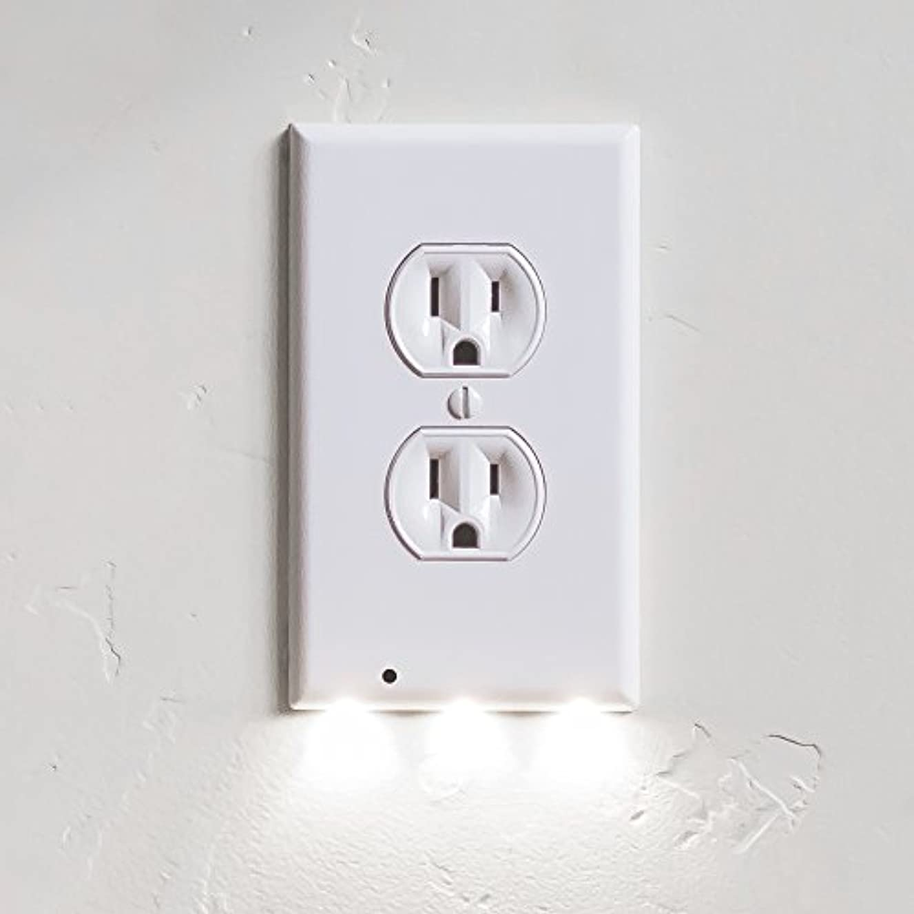 9 Pack SnapPower GuideLight - Outlet Wall Plate With LED Night Lights - FOR OUTLETS - (Duplex, White)