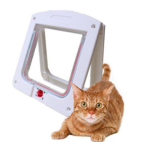 Toruiwa 1X Haustiertüre 4-Wege Hundetür Katzentür Haustierklappe Hundeklappe Katzenklappe Freilauftür für Mittlerer Kleiner Haustier Hunde Katze Weiß
