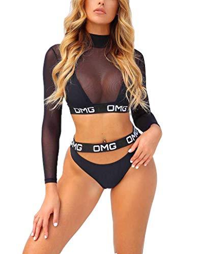 Aelle 3-teiliger Frauen-Badeanzug mit Langen Ärmeln, Bikini-Set, Netz-Cover-Up, Tanga-Bikini mit OMG-Print, Badeanzug, Badebekleidung (M, Schwarz)