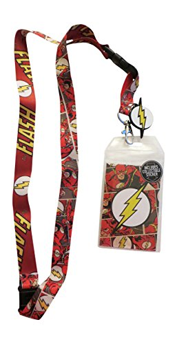 DC Comic Flash Reversible Breakaway Keychain Lanyard with ID Holder, Rubber Lightning Bolt Logo Charm and Collectible Sticker