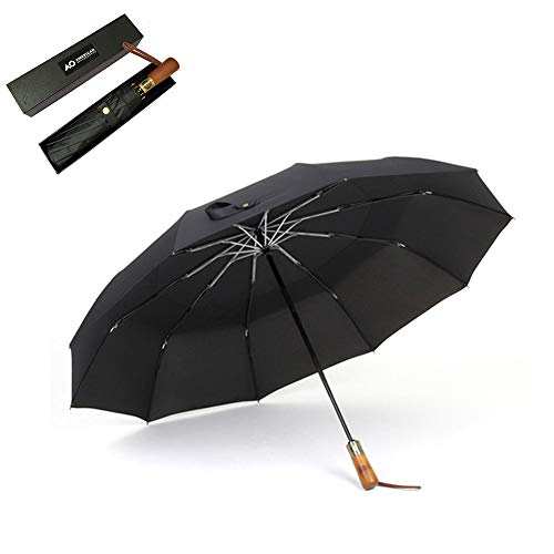 ZLASS Automatic umbrella, large folding umbrella with portable bag and solid wood handle, compact umbrella for car outdoor travel, 115cm/45in, black