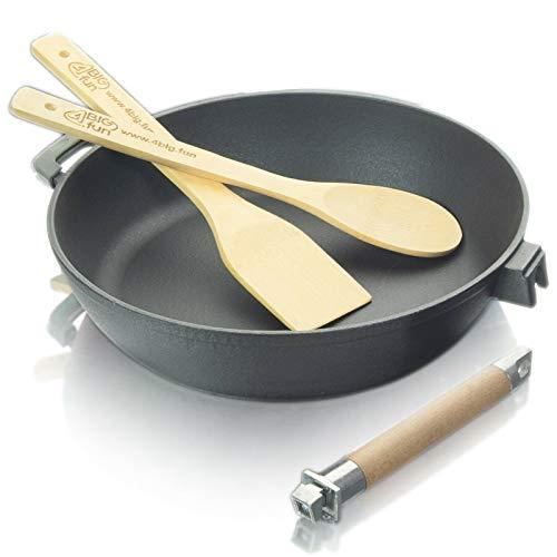 Sartén esmaltada (profunda) de 24 cm, de hierro fundido con mango de madera extraíble, espátula y cuchara de cocina de bambú de 4big.fun