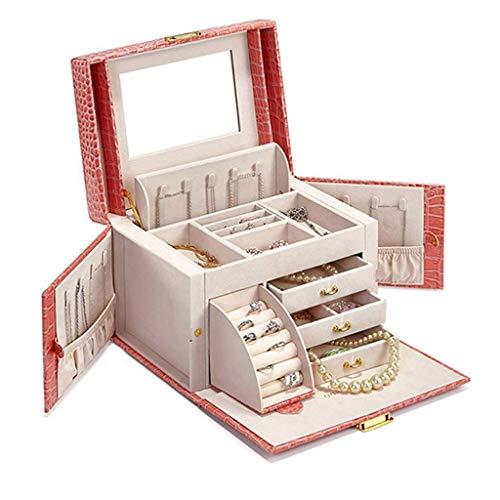 ZXL Organisateur cosmétique Cosmétique Sac Chambre vanité Miroir Fille boîte à Bijoux Grande capacité PU Voyage Sac Cadeau Sac à Main (Couleur: Rose, Taille: 25.5 * 18.5 * 17.5cm)