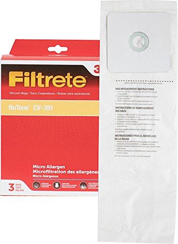 3M 68703 Filtrete NuTone CV-391 Micro Allergen Vacuum Bag,White,3-Pack
