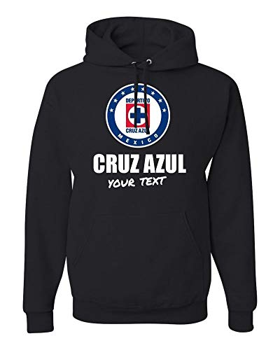 Cruz Azul La Maquina Hooded Hoodie Hoody Sudadera with Custom Text(Optional) (Black, 2X Large)