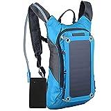 Mochila Mochila de Carga Solar for Montar al Aire Libre Mochila de Senderismo con Carga de Panel Solar para Escolar Trabajo Viajes (Color : Azul)