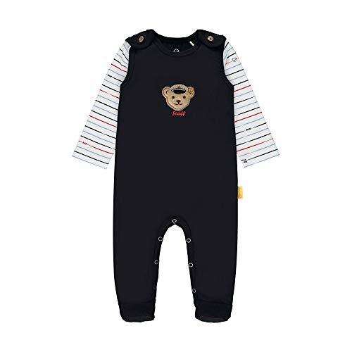 Steiff Baby-Jungen Set Strampler + T-Shirt Langarm Bekleidungsset, Blau (Black Iris 3032), 74 (Herstellergröße: 074)