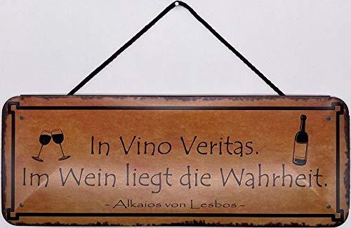 Blechschild Cartel de pared o puerta con cordel de 27 x 10 cm. Cartel de pared y puerta: In Vino Veritas. En vino está la verdad.