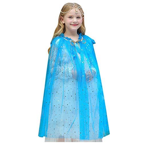 Lazzboy Kleinkind Baby Mädchen Tüll Cape Kostüm Weihnachten Schal Cosplay Outfit Halloween Kinder Prinzessin Umhang Pailletten Fee Für Karneval Fasching Party(Blau,M)