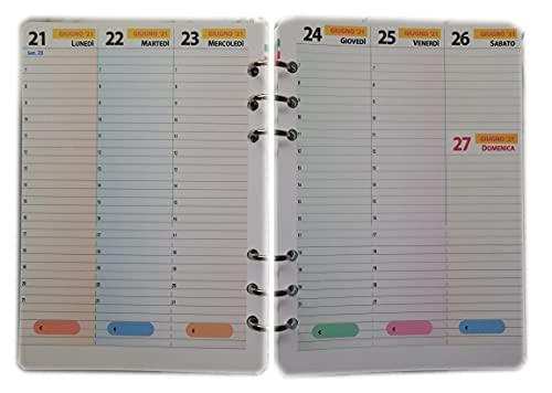 Ricarica / Ricambio Agenda con 6 Anelli Formato A5 15x20cm (Calendario Italiano Settimanale Con Orari)
