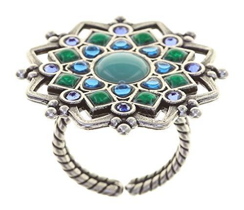 Konplott: Ring Mandala, aufwendiger Ring im Mandala-Design in blau-grün-türkis