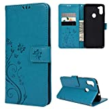 Galaxy A11 Case, YOKIRIN Flip Kickstand PU Leather Folio Wallet Cover Embossed Floral Butterfly Case with ID Credit Card Holder, Protective Case Compatible with Samsung Galaxy A11 (Blue)