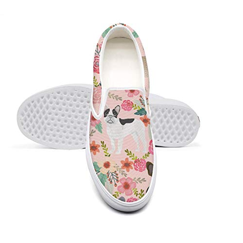 Pink French Bulldog Floral White Collar Flat Bottom Solid Color Tennis Shoes