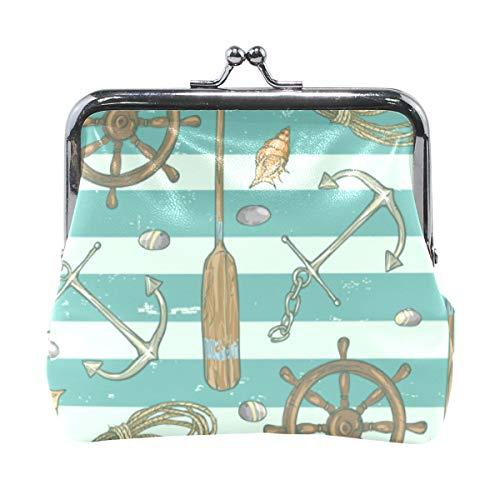 XiangHeFu Brieftasche Frauen Geldbörse Streifen Anker Schiff Symbol Clutch Bag Leder