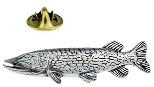 Gemelolandia | Silberfarbener Fisch-Anstecker | originelle und preiswerte Pins zum Verschenken | für Hemden, Kleidung oder Rucksack | lustige Details