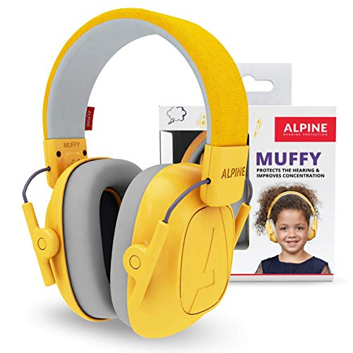 Alpine Muffy Cuffie antirumore bambini - Cuffie protezione per bambini fino a 16 anni - Cuffia antirumore di prima qualità studiata per bambini - Protezione orecchie bambini fascia regolabile - Giallo