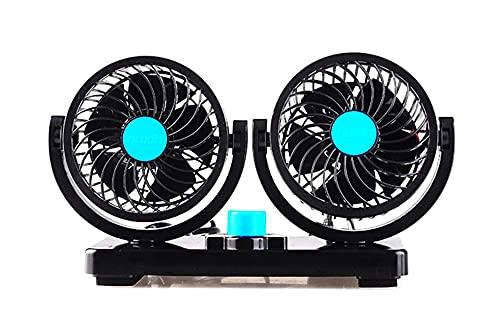 ventilador de coche 360 grados todo redondo ajustable 1 2V 24V AUTOMÁTICO AUTOMÁTICO DE COCHE FAN DUAL CABEZA DE CABEZA AUTOMÁTICO AIR AIR AIR BAJA DE RUIDO FAN PARA ACCESORIOS DE ABS ( Color : 24V )