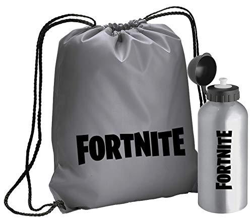 Giano Srl Fortnite Bolsa de gimnasio en poliéster + botella de agua en aluminio/acero libre de BPA – 600 ml con cierre hermético | Adecuado para deportes, guardería, escuela, niños, | Fortnite