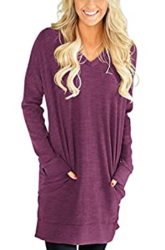 XUERRY Womens Casual V-NECK Long Sleeves Pocket Solid Color Sweatshirt Tunics Blouse Tops  X9009WineRed,XL