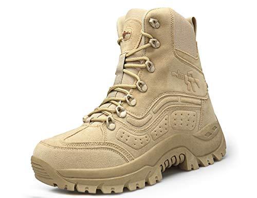 IYVW 516 Stivaletti tattico Mid High Rise Scarpe da Trekking Invernali Stivali in Pelle, Uomo Giallo Deserto 43 EU