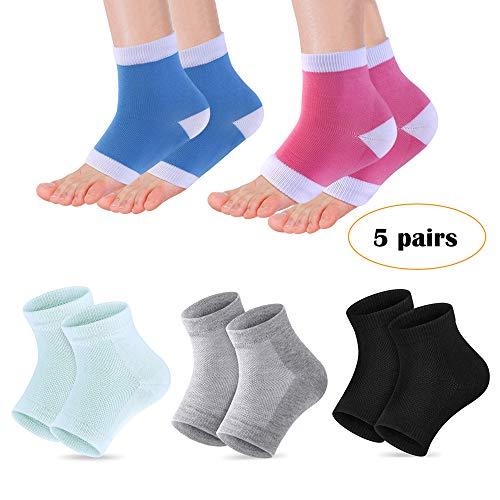 Heel Moisturizing Socks - Codreamauto Moisturizing Gel Heel Sleeves Toeless Spa Gel Socks, Humectant...