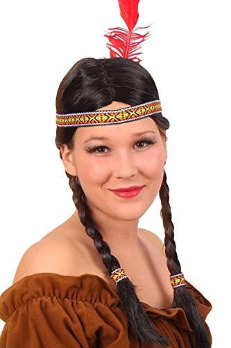 Pruik - Zwart - Indiaan - Chinouk - Met twee vlechten
