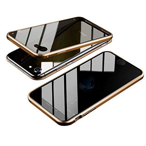 Jonwelsy Anti-Spy Funda para iPhone 8 (4,7 Pulgada), 360 Grados Proteccion Case, Privacidad Vidrio Templado Anti espía Cover, Adsorción Magnética Metal Bumper Cubierta para iPhone 7 (Oro)