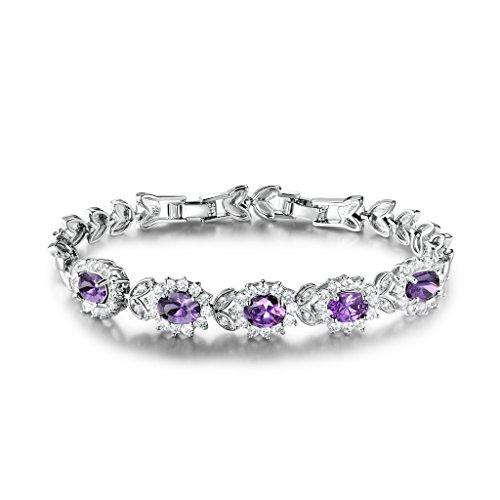 Gulicx, bracciale Tennis, argento/oro, con 5 cristalliovali rubino/zaffiro/ametista color viola/bianco/blu/rosso, base metal, colore: purple, cod. L113c