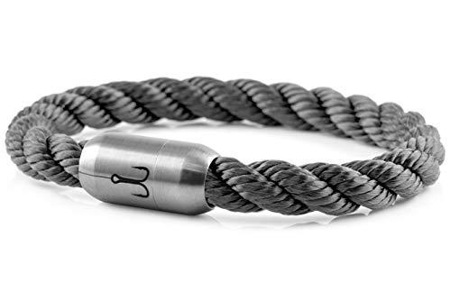 "Fischers Fritze® Segeltau Armband MAKRELE 2.0"" Grau Gedreht, 21.0"