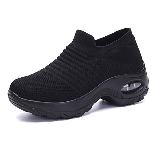ZS ZHISHANG Women's fashion walking shoes-breathable Mesh sneaker,Comfortable wedge platform shoes Women Walking Shoes Super Soft Height Increase Travel Outdoor Shoes-UK 4