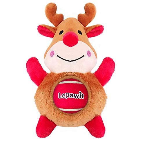 Lepawit 2Pcs Christmas Dog Plush Toy Reindeer (9.5inch) with 1 Removable Ball Squeaky Toy for Medium Large Dogs Interactive Outdoor Dog Training Toys