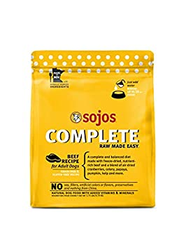 Sojos Complete Beef Recipe Adult Grain-Free Freeze-Dried Raw Dog Food 1.75 Pound Bag