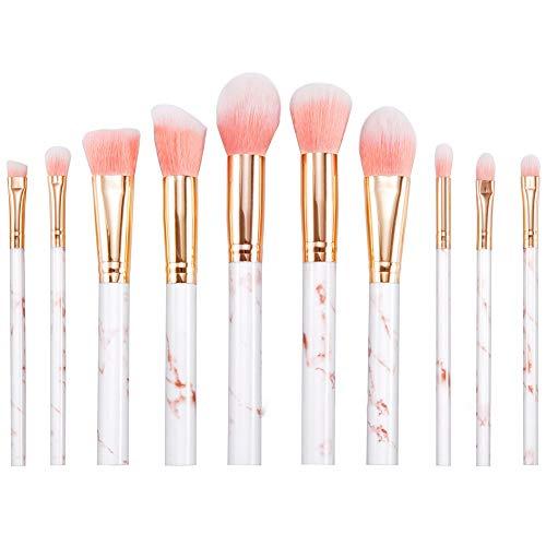 DHB Ensemble De Pinceaux De Maquillage en Marbre Ensemble De Pinceaux De Maquillage pour Le Visage à Base De Poudre De Synthèse Synthétique Avancée (10 Pièces),Pink