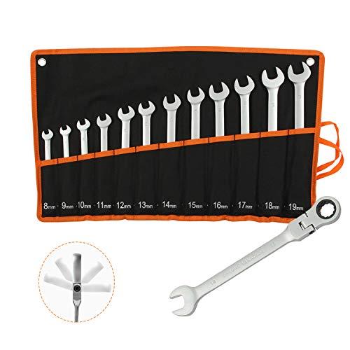 Todeco Set chiavi combinate a 12 pezzi, Chiavi a cricchetto 8-19 mm, Attrezzi da lavoro Metriche, Set chiavi a cricchetto con borsa da trasporto