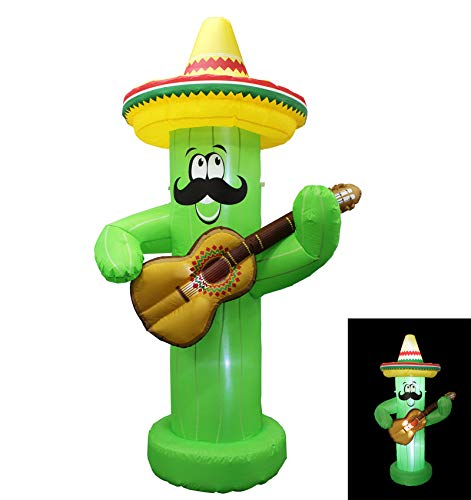 Inflatable 7ft Cinco De Mayo Day Mexican Party May 5 Cactus Mexicano Decor Taco Sombreros Glasses with Props Guitar