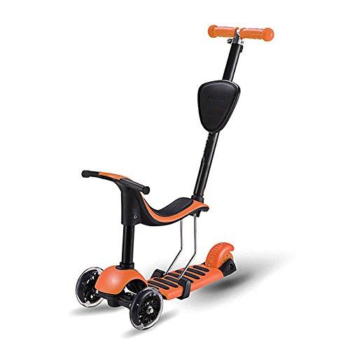 Lvbeis Monopattino Sedile Rimovibile Bambini 3 Ruote Regolabile Altezza Scooter Da 2-8 Anni,Orange