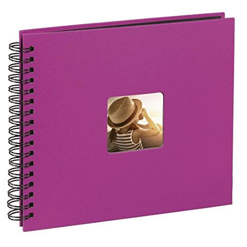Hama Fotoalbum (28 x 24 cm, 50 schwarze Seiten, 25 Blatt, mit Ausschnitt für Bildeinschub) Fotobuch pink