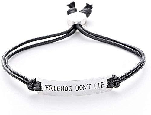 DUEJJH Co.,ltd Collar Friend Not Lies Elf Charm Bracelet Letters Hombres Bar Brazalete Pulsera de Cadena para Mujeres Stranger Things Movie Jewelry