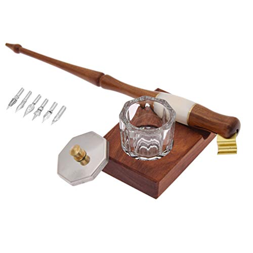 BetterUS 1 Set Dip Pen Wood English Calligraphy Oblique Nib Holder With Desktop Pen Holder,Ink Bottle Container and 5 Nibs