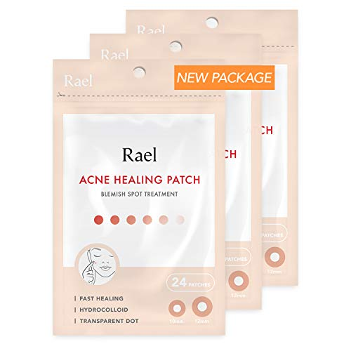 Rael de acné hidrocoloideo parche de curación 3 paquete (invisible, 72 Count)