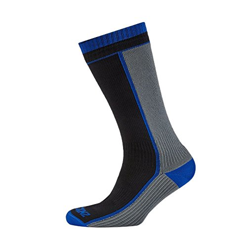 SealSkinz Mid Weight Mid Length Socks, Black/Grey, Small