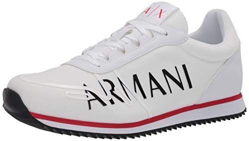 Armani Exchange Herren Sneaker, Weiß (Op.White+Black Logo 00152), 45 EU