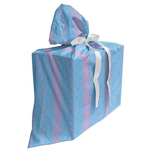 ABAKUHAUS slangenprint Cadeautas voor Baby Shower Feestje, Abstract Reptile, Herbruikbare Stoffen Tas met 3 Linten, 70 cm x 80 cm, Azure Blue Pink baby